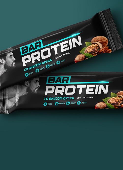 Дизайн упаковки протеинового <br> батончика BAR PROTEIN